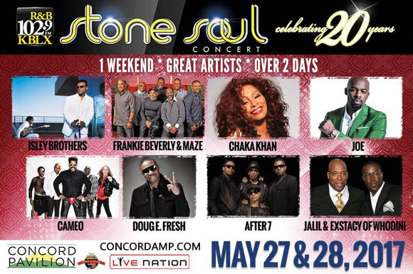Stone Soul Concert: Maze and Frankie Beverly, Chaka Khan, After 7 & Jail and Ecstasy at Concord Pavilion