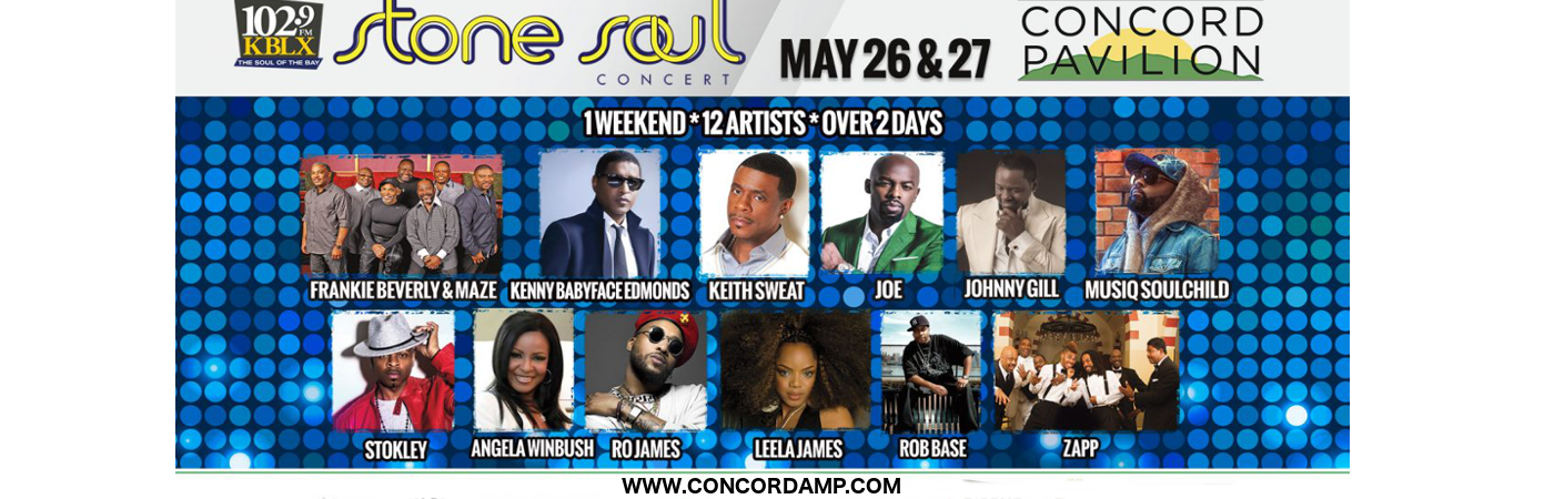 KBLX Stone Soul Concert: Kenny Babyface Edmonds, Joe, Musiq Soulchild, Leela James, Ro James & Stokley at Concord Pavilion