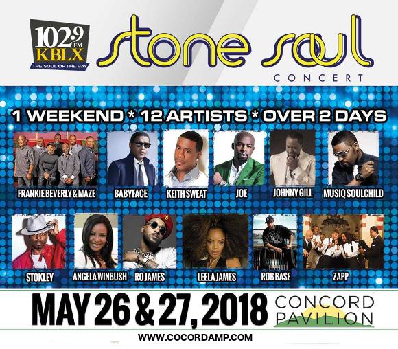 KBLX Stone Soul Concert: Maze, Frankie Beverly, Keith Sweat, Johnny Gill, Angela Winbush, Zapp & Rob Base at Concord Pavilion